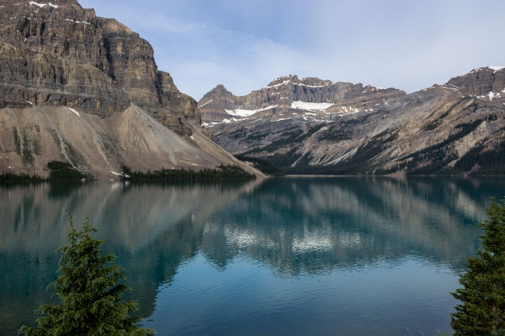 Our first glimpse of Bow Lake in the morning in Banff National Park. Dawn Page / CoastsideSlacking