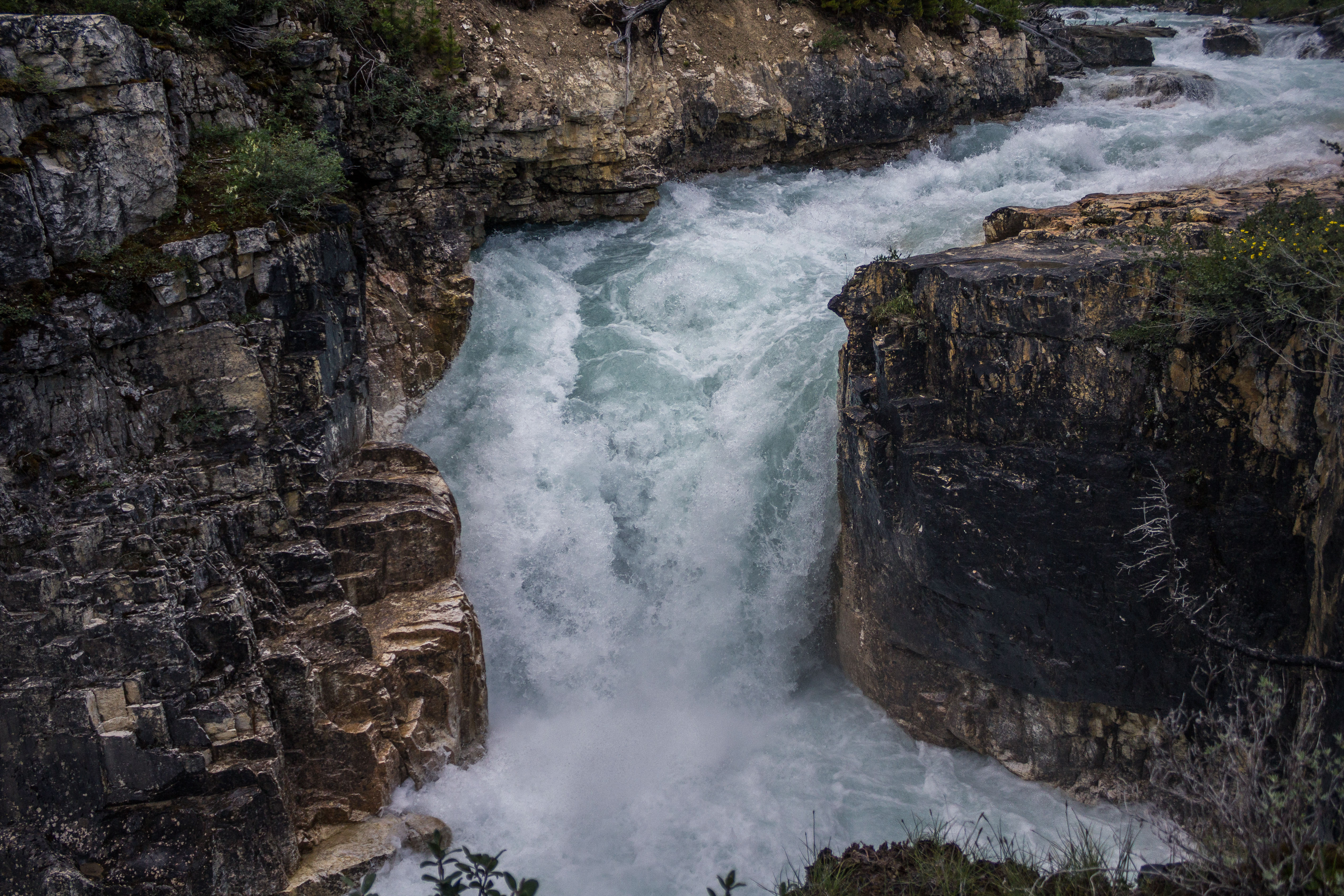 Tokumm Creek as it plunges into Marble Canyon in Kootenay National Park, BC, Canada. Dawn Page / CoastsideSlacking