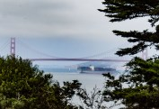 The Lands End, with a glimpse of a container ship passing beneath the Golden Gate Bridge. Dawn Page / CoastsideSlacking