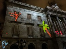 Projections on the buildings in the Plaça Sant Jaume during the La Mercé festival in Barcelona. Dan Page / CoastsideSlacking