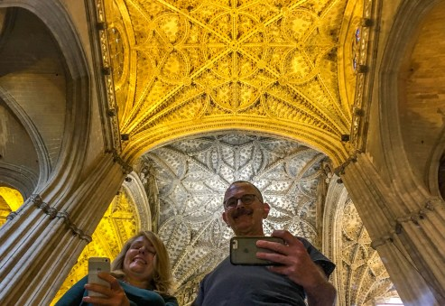 Selfie mirror in Seville Cathedral. Andalusia, Spain. Dawn Page / CoastsideSlacking