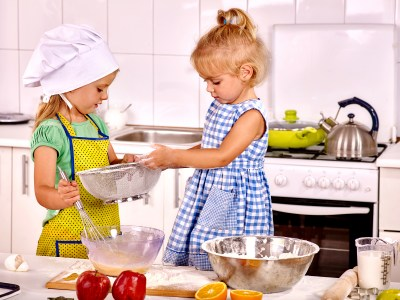 children making breakfast at home kitchen