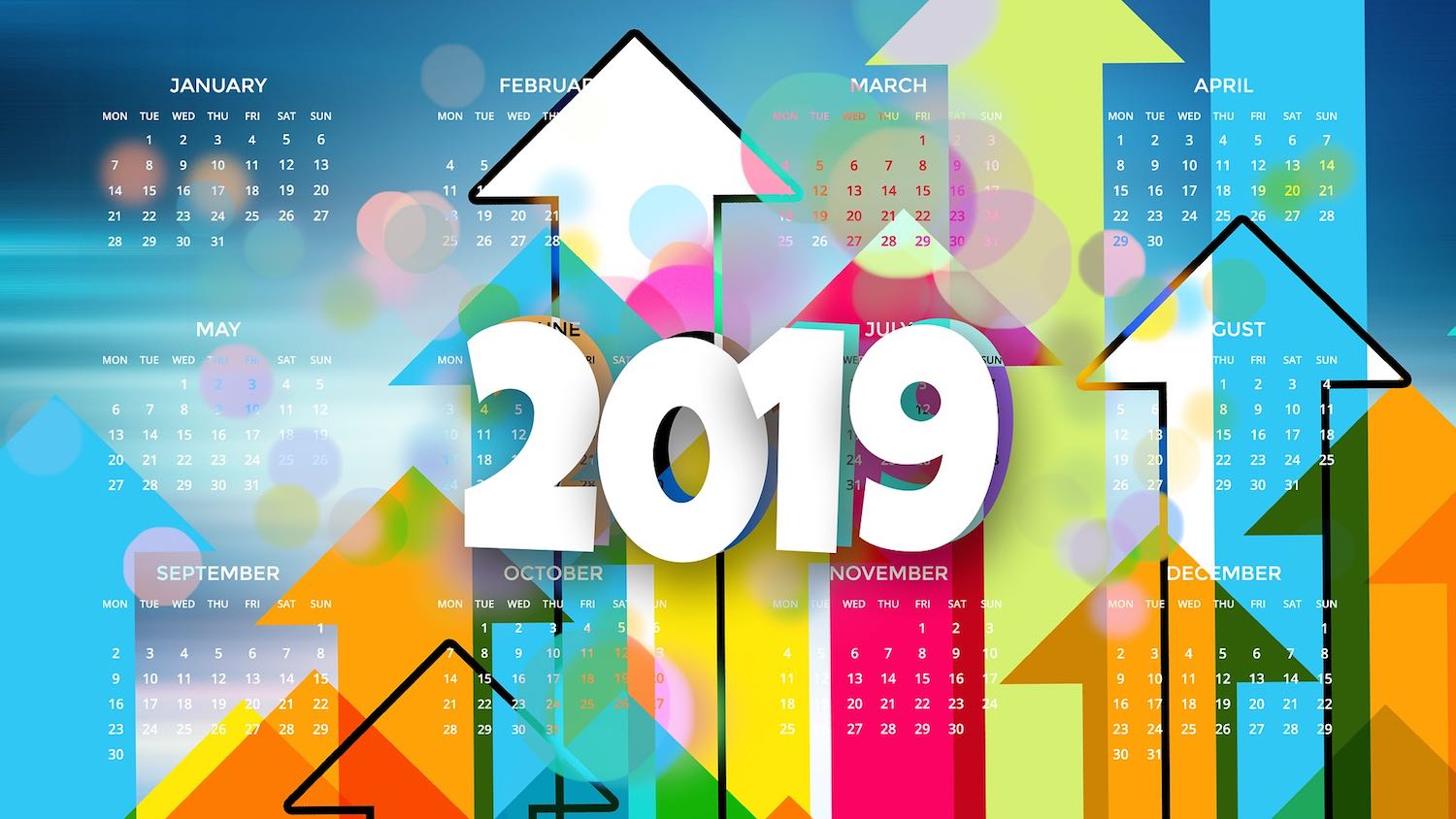 Image: 2019 calendar with upwards arrow