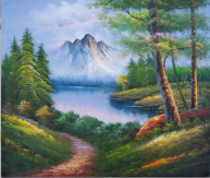 """""""This painting can have more meaning than it can show. It can just look like just landscape, but the meaning behind it can be much more when the artist puts some effort into it, which can show meaning. This painting to me means that the landscape ,once on the canvas, was nothing but is now something beautiful. And that it a painting may just look like one, but doesn't have to be one."""""""