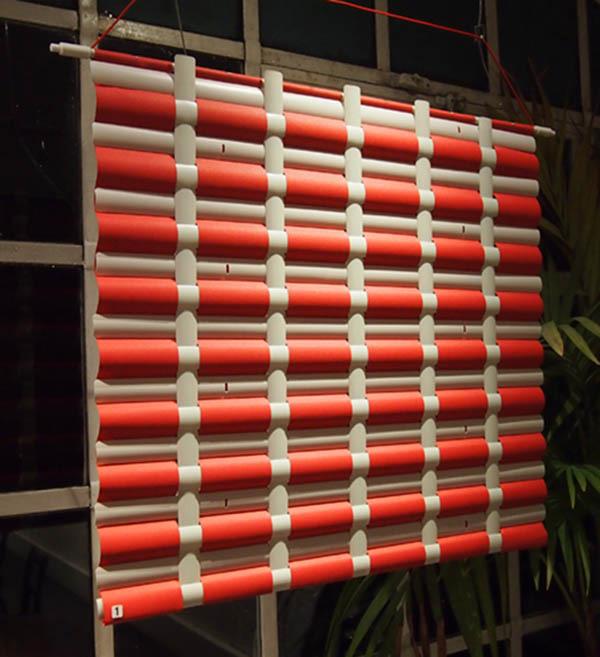 Jennifer L Thompson Red & White Weave 66x75cm Mixed media £185