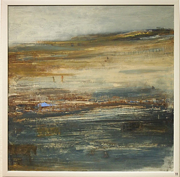 Karen Macwhinnie Being There 63x63cm; Acrylics, mixed media on canvas £450