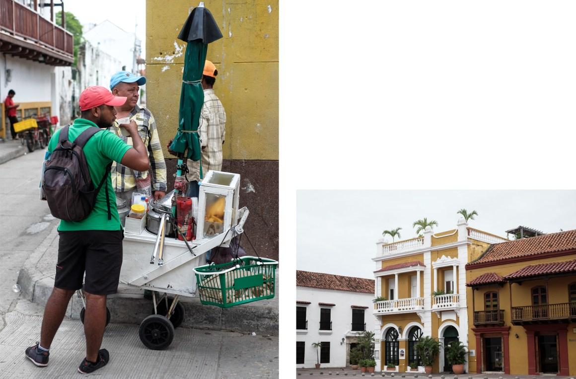 street colonial building cartagena man food