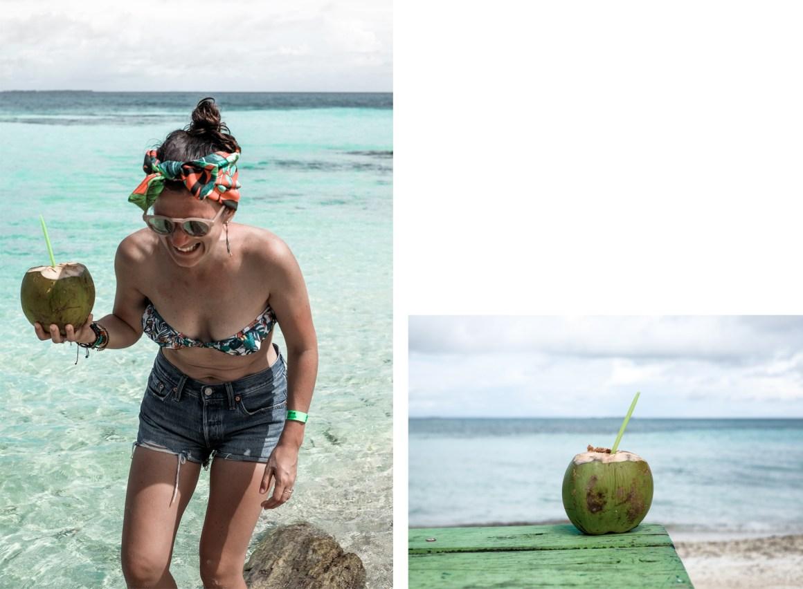 woman water coconut turquoise bikini