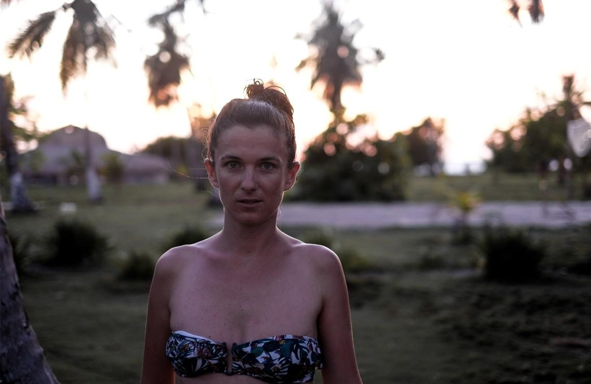 woman bikini princesse tam tam palm trees sunset