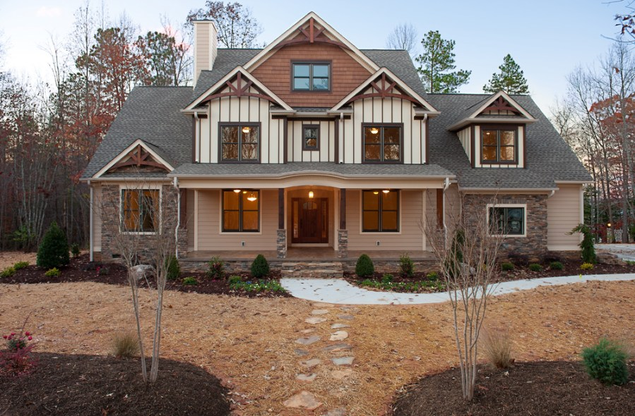 Craftsman Homes   Mooresville Custom Home Builder craftsman style homes exterior with lighting