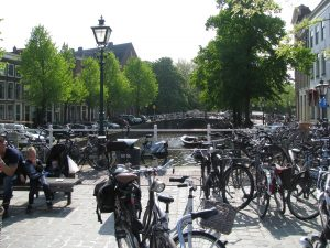 Bicycles are part of the landscape in Amsterdam