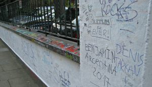 Graffiti on the walls outside Abbey Road Studios