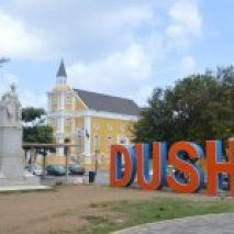 A sign that reads Dushi or welcome outside Willemstad, Curacao