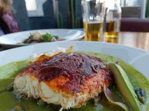 A plate of Red Snapper at the Balcon del Zocalo rooftop restaurant