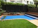 Cubierta piscina tipo persiana azul