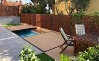 Plataforma de madera para tapar la piscina