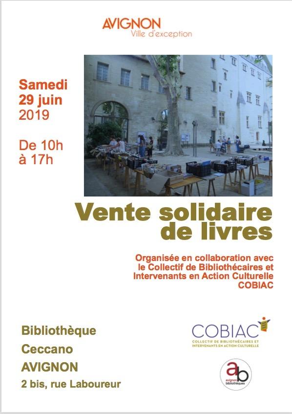 samedi 29 juin vente solidaire a la bibliotheque ceccano d avignon