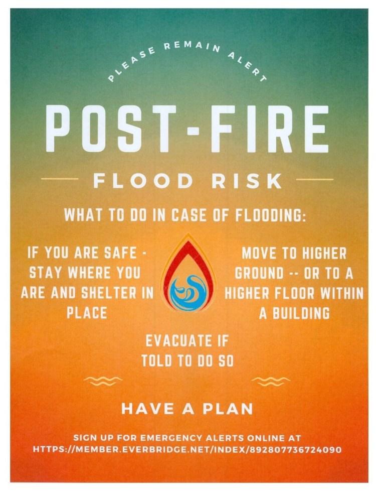 Post-Fire Flood Risk Flyer. Click for link to everbridge app signup.