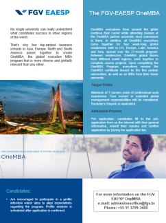 One-MBA at FGV-EAESP, Brazil