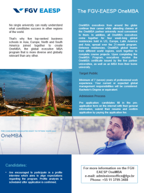 FGV-EAESP OneMBA program, the Council on Business & Society