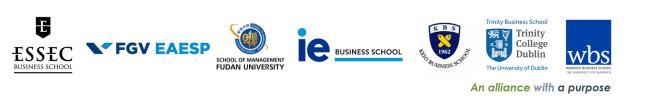 The Council on Business & Society (CoBS): ESSEC Business School, France-Singapore-Morocco; FGV-EAESP, Brazil; School of Management, Fudan University, China; IE Business School, Spain; Keio Business School, Japan; Trinity Business School, Trinity College Dublin, Ireland; Warwick Business School, United Kingdom.