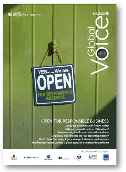 Download the latest issue of the Council on Business & Society's quarterly magazine Global Voice #19: Open for Responsible Business.