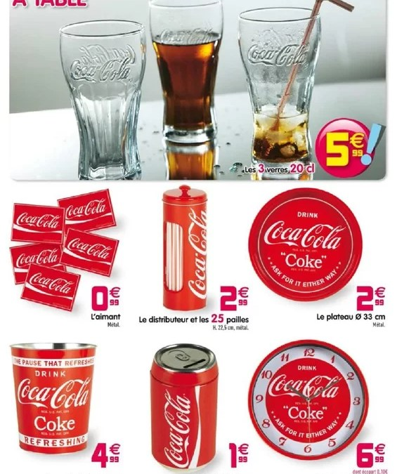 une s lection d 39 articles de d co coca cola chez gifi. Black Bedroom Furniture Sets. Home Design Ideas