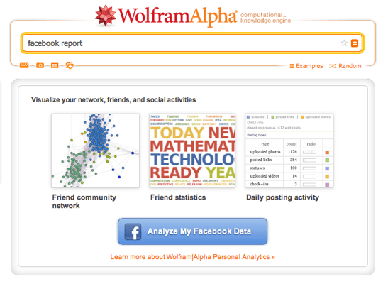Photo of Wolfram Alpha Facebook Report