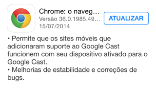 Photo of Chrome 36.0.1985.49 para iOS na Área, google cast