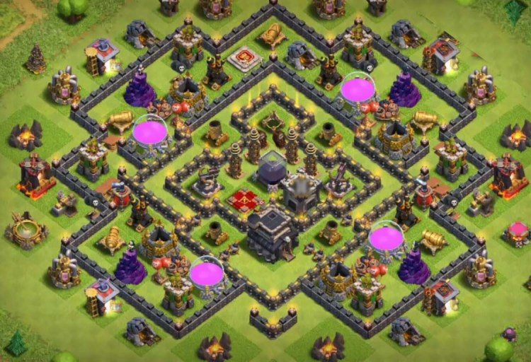 Best th9 farming base new update 2016 2017 with bomb tower
