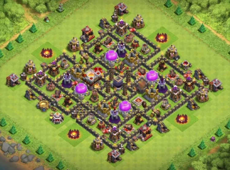 10 excellent th9 dark elixir farming designs with bomb tower 2016