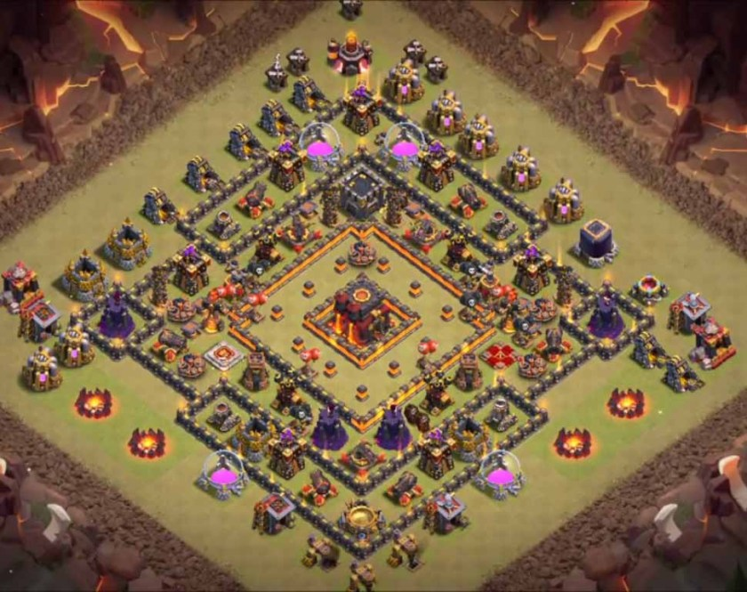 clash of clans town hall 10 war base with bomb tower