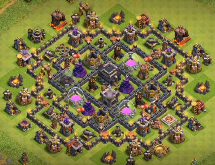 Clash of clans town hall 8 hybrid base with bomb tower best th8 hybrid