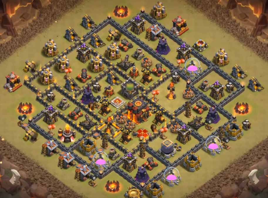 coc th10 war base with bomb tower