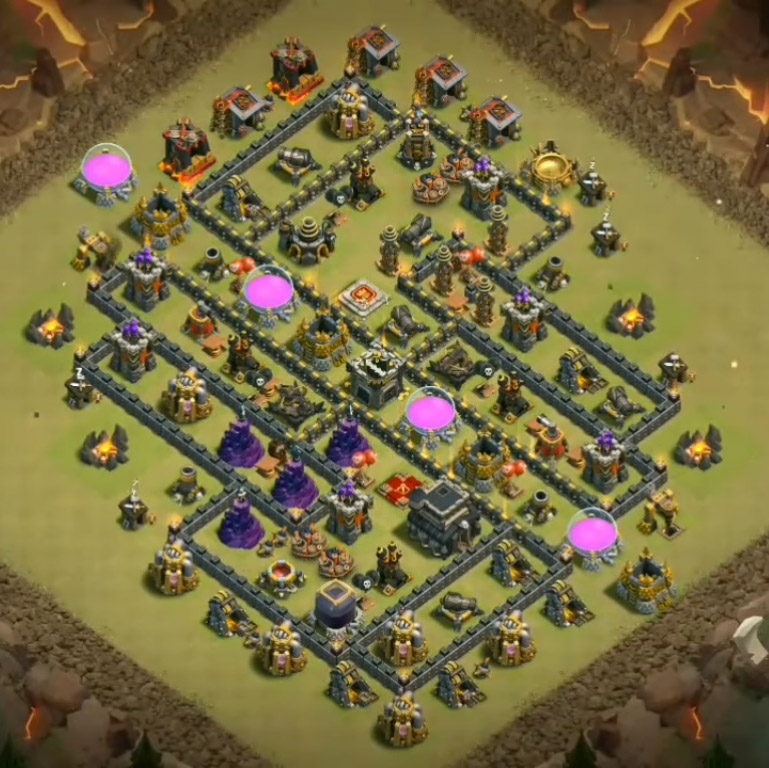 town hall 9 war base anti GoBoWitch, LavaLoon, Th9 GoValk, GoVaLo