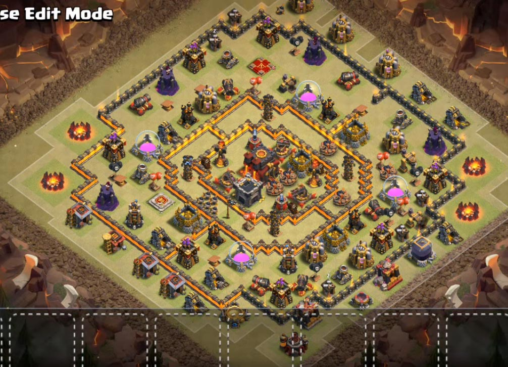 coc town hall 10 war base anti bowler valkyrie