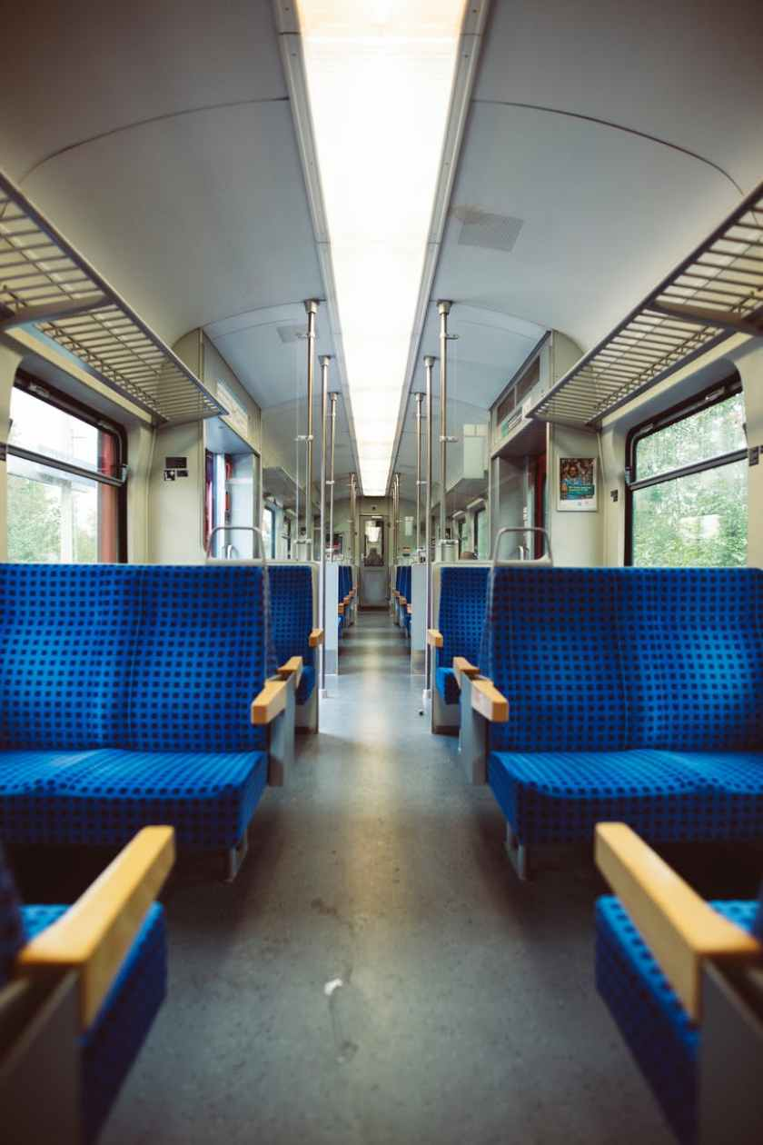 a photo of inside the train