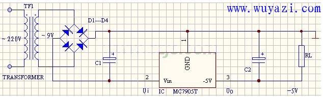 輸出-5V直流電壓的穩壓電源電路圖   研發互助社區