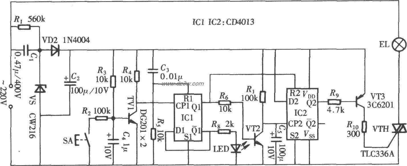 由CD4013組成的輕觸式延時開關電路 | 研發互助社區
