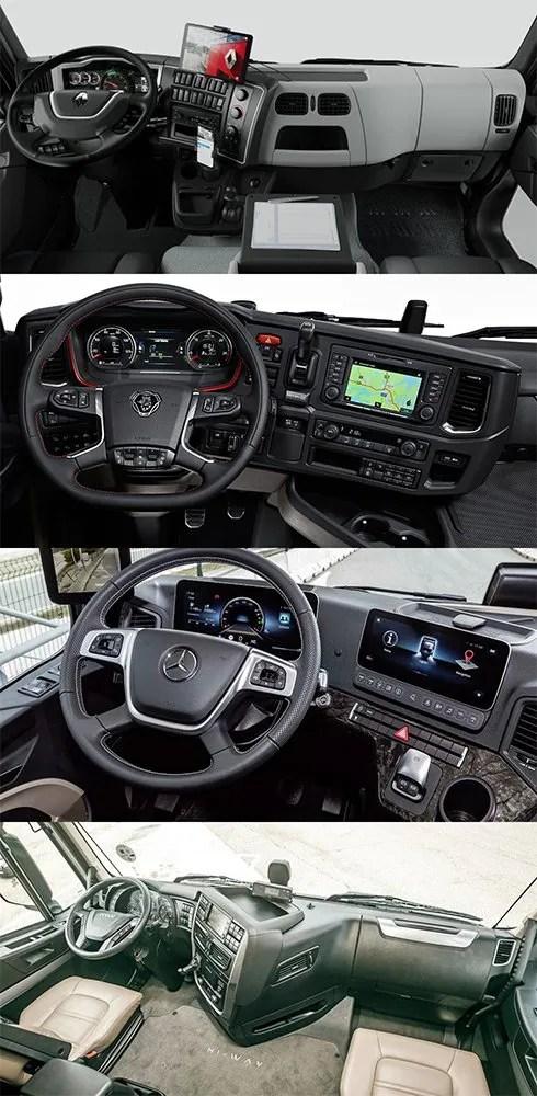Lista de los mejores GPS para camión. En la Imagen el interior de: Renaul T High 520, Scania R520, Mercedes Actros e Iveco S-Way