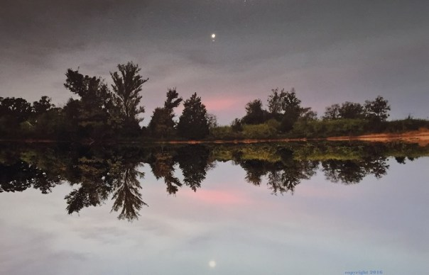Reflection of the sky and tree line in the pond.  A moon rises into the sunset.