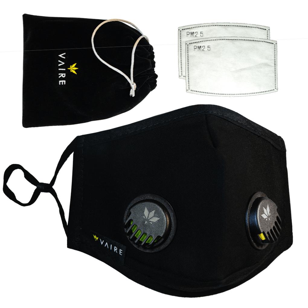 Zdjęcie główne - czarna maska Vaire bez wzorów z zaworami - nowa