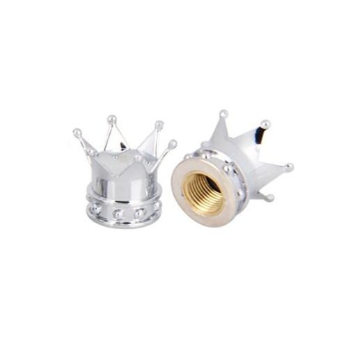 Srebrne nakrętki na wentyle w kształcie korony