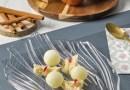 Esferas de manzana con chocolate blanco, bizcocho de canela y compota de jengibre