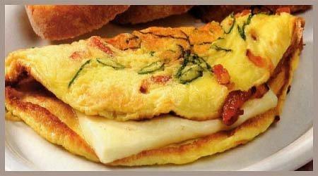 omelette de queso y panceta