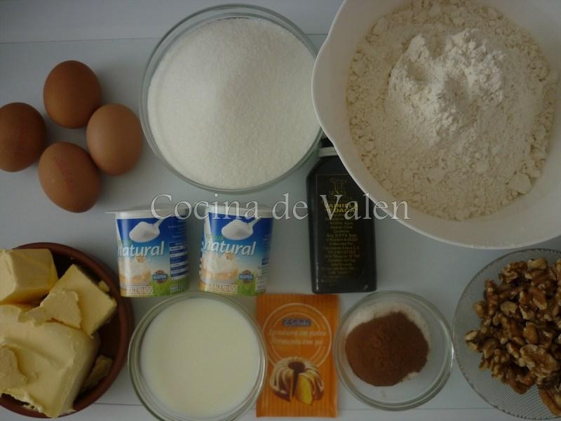 Ingredientes Bizcocho con canela y nueces