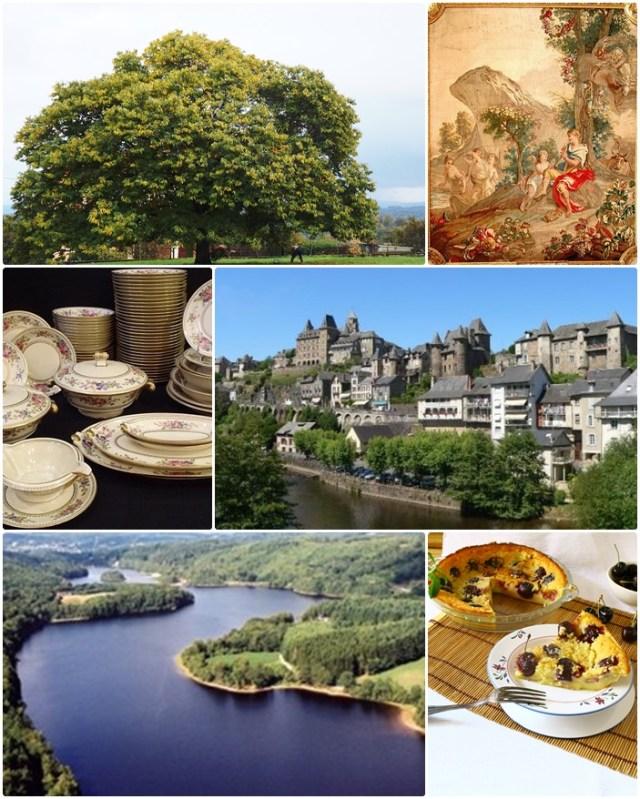 clafoutisde cerezas y flaugnarde de albaricoques, castillos del Lora, vajilla de Limoges, tapices de Aubusson