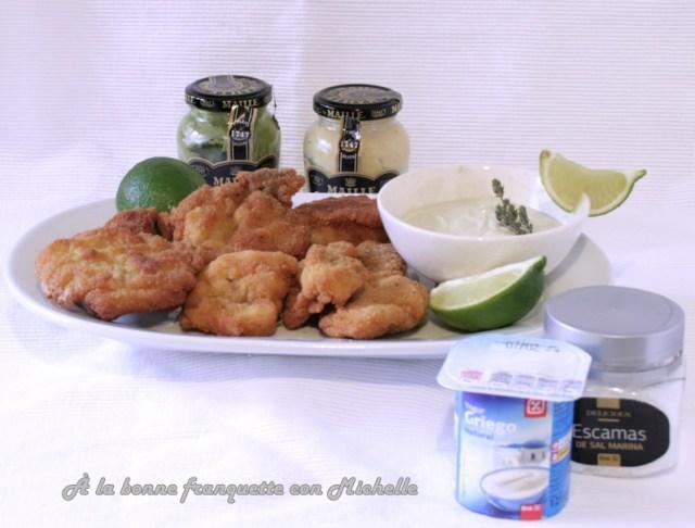Puntas de solomillo de cerdo empanadas, salsa a las dos mostazas y yogur