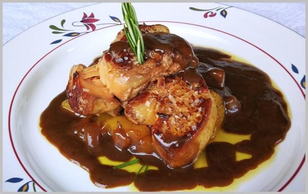 foie gras a la plancha con mango y pera