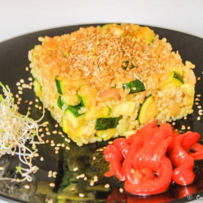 Arroz con verduras y tamari